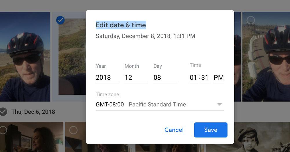 Adjusting dates in Google Photos