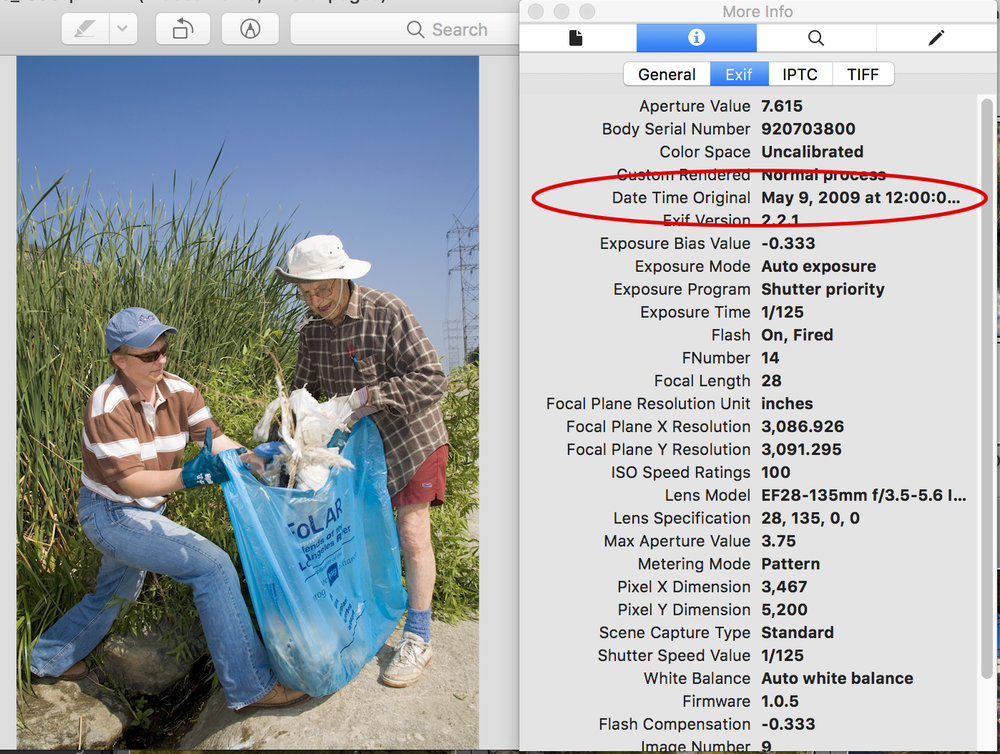 EXIF metadata displayed in Preview app