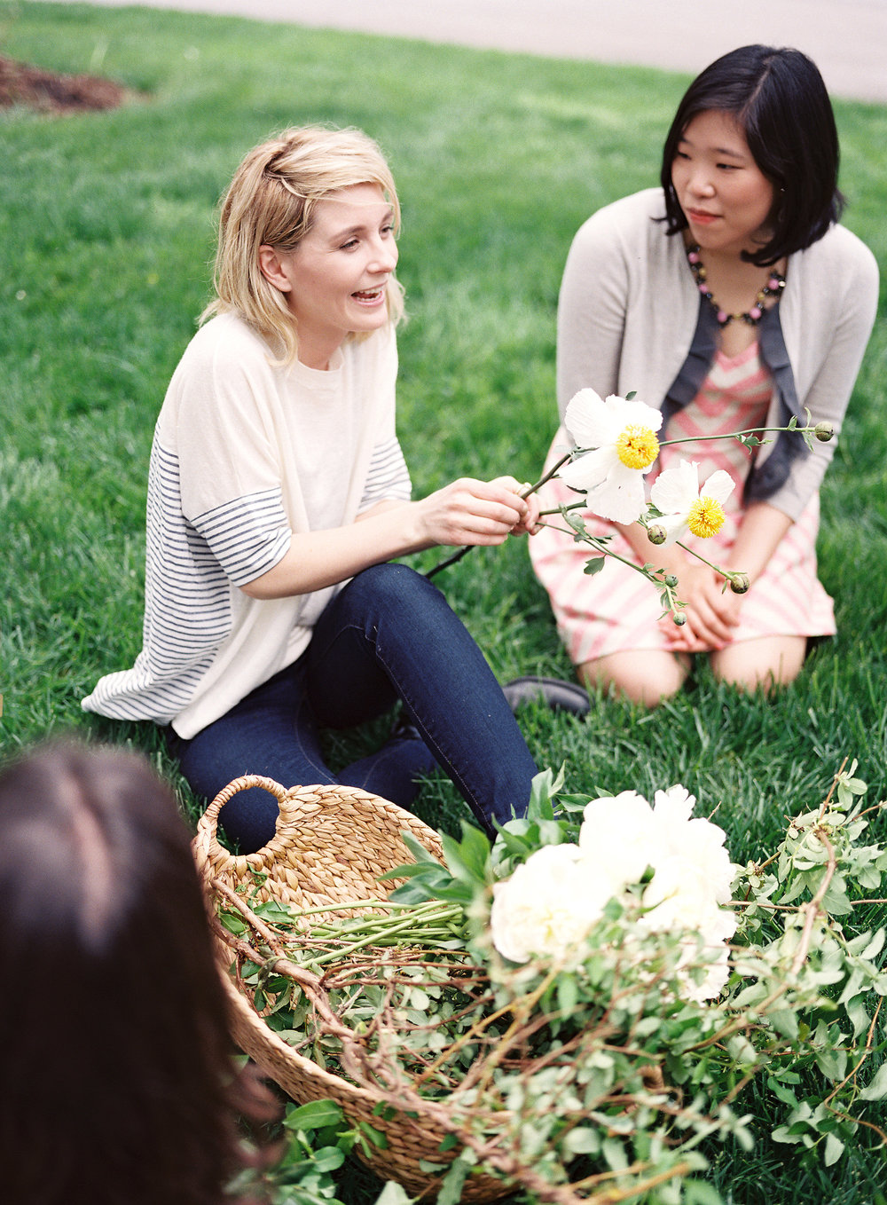 We explored the arboretum space and enjoyed meeting new faces in the courtyard with our baskets of white blooms and greenery.  | Photo:  Heather Payne