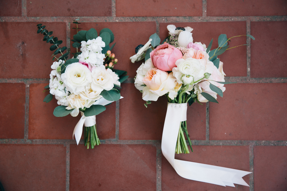 Mother of the Groom's Posy and Maid of Honor Bouquet inspired by various Eucalyptus greenery and scented florals such as white stock, Romantic Antike garden roses, Juliet garden roses, etc. Photo:   Tim Redman