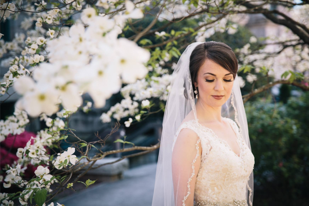 Oh my!  That glimpse of dogwood enhancing the lacey bridal gown and beading on Allison's veil.  Photo:   Tim Redman