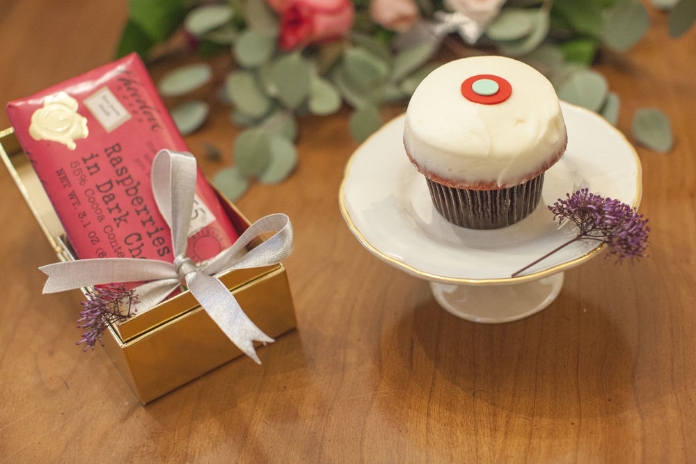 One of my favorite chocolate companies, Chocolove, and that classic red velvet Sprinkles cupcake.