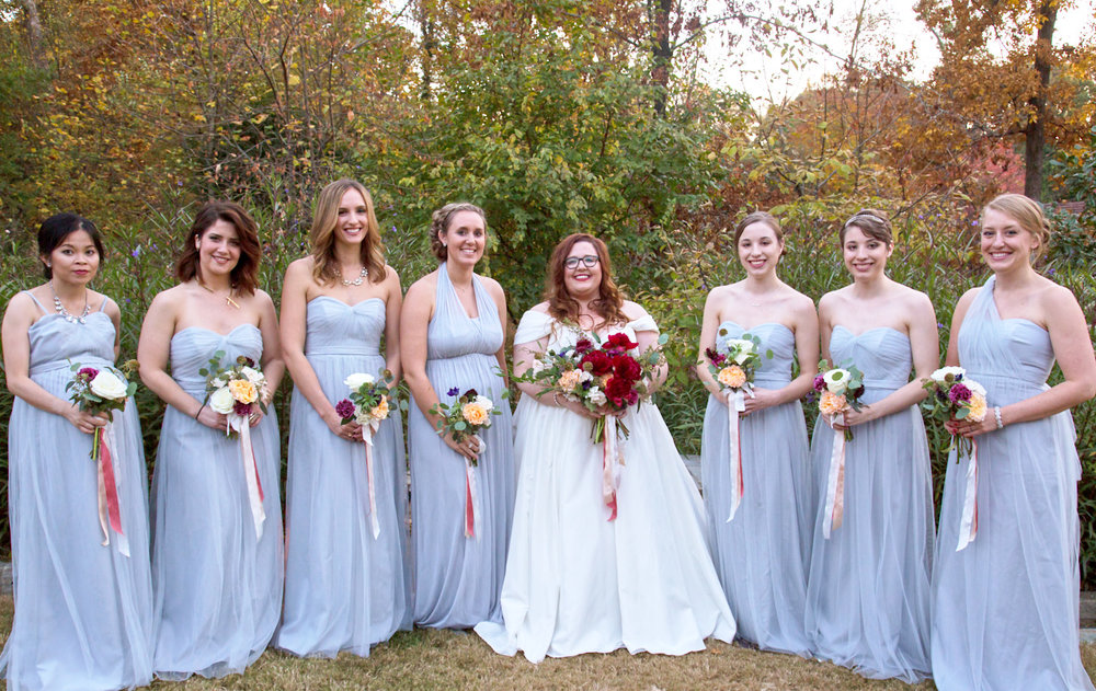 The bridesmaids with the bride, Molly Morris, outside Callanwolde