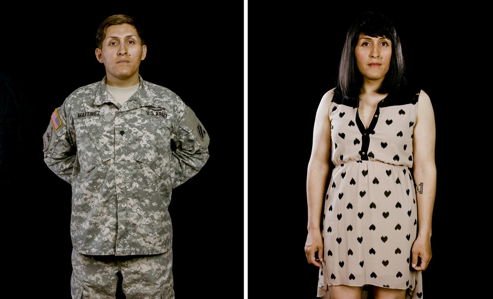 "Specialist Maya Martinez on and off duty, Savannah, Georgia, 2014   Army Specialist Martinez, 26, served for almost six years (one tour in Afghanistan) in active duty and was eventually discharged on November 26th, 2014, for being discovered as Transgender. She risked dismissal from service for revealing her identity. Maya said, ""I've gone to work scared every day that today is going to be the day that they are going to hammer down on me...for just being me."" Being openly Transgender in the military is found as a behavioral or mental disorder and they can kick you out."" On July 14th 2015, U.S Defense Secretary Ash Carter announced the beginning of a six-month review that would allow Transgender men and women to serve openly in the U.S. Military. The Trump administration has since reversed the progress and the United States Government will no longer accept or allow Transgender individuals to serve in any capacity in the U.S. Military."
