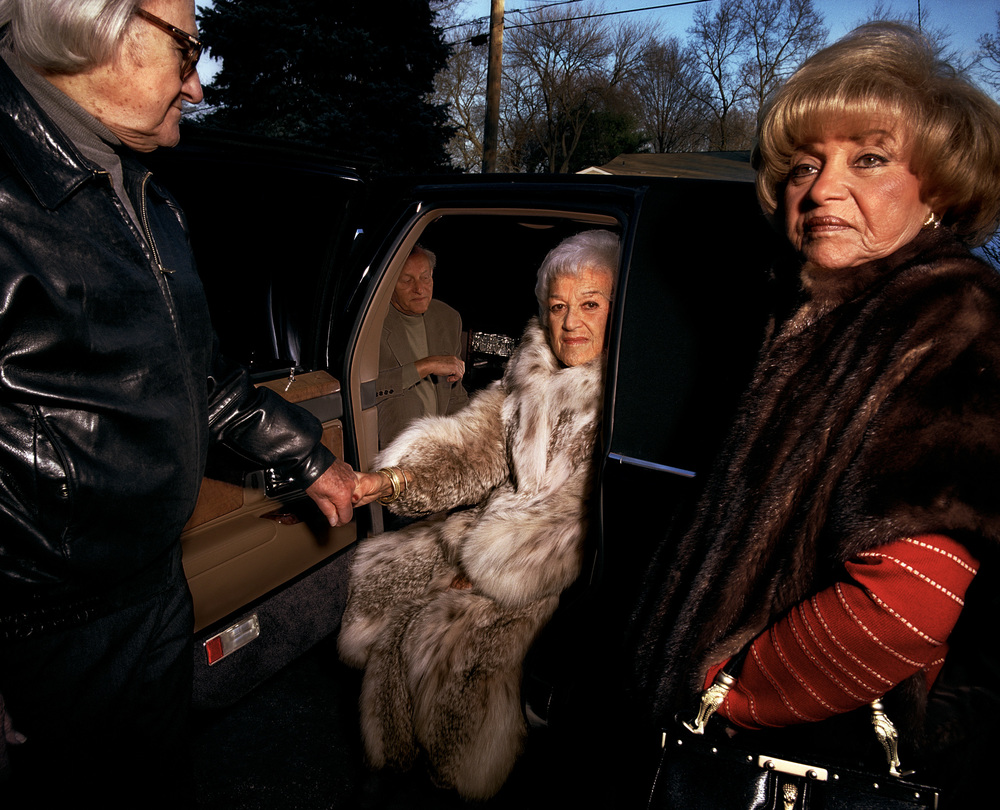 Grandpa helping Grandma out of the limo, Mamaroneck, New York, 1999