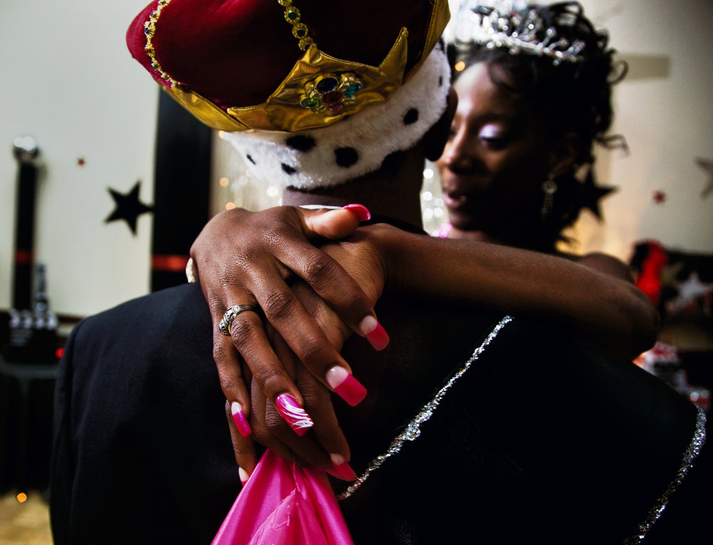 Prom king and queen, dancing at the black prom, Vidalia, Georgia, 2009