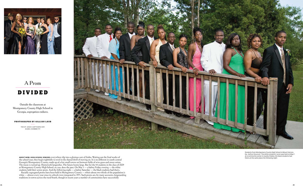 "Sara Corbett / ""A Prom Divided,"" New York Times Magazine, May 21, 2009 / Featuring photographs by Gillian Laub"