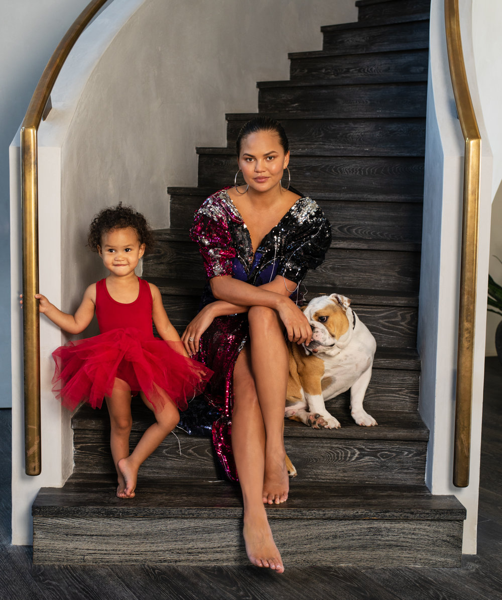 Chrissy Teigen and her daughter Luna / Vogue