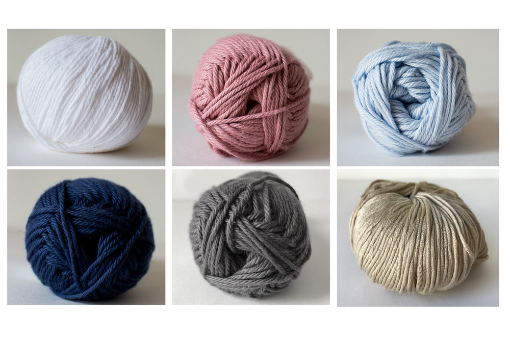 Cotton Yarns - 100% Cotton yarn that is soft to touch and light enough to wear in the summer. ColorsTop, Left to Right:  White, Blush, Pale BlueBottom, Left to Right:  Navy, Slate, Beige