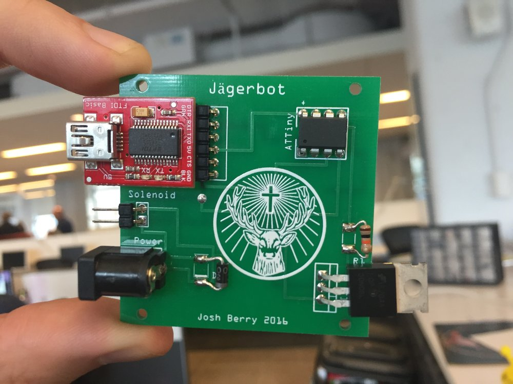 PCB with all components installed. It's a serial device that connects to a computer via USB. Many types of software applications can talk to it to dispense Jägermeister.