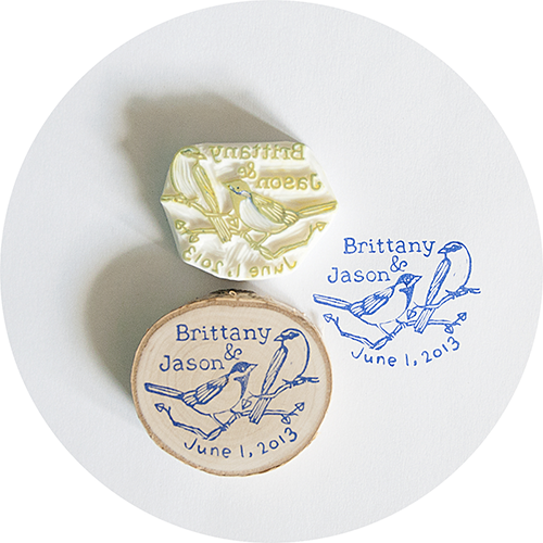Handmade Custom Wedding Stamp with Names and Date