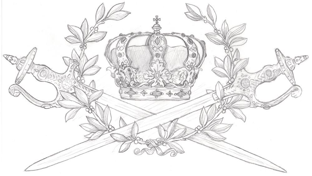 Crown and double sword linocut sketch.