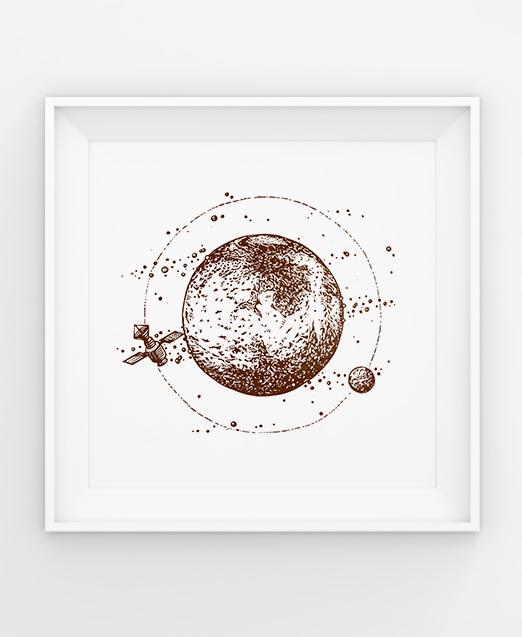 Mars, original handmade linocut by Tian Gan