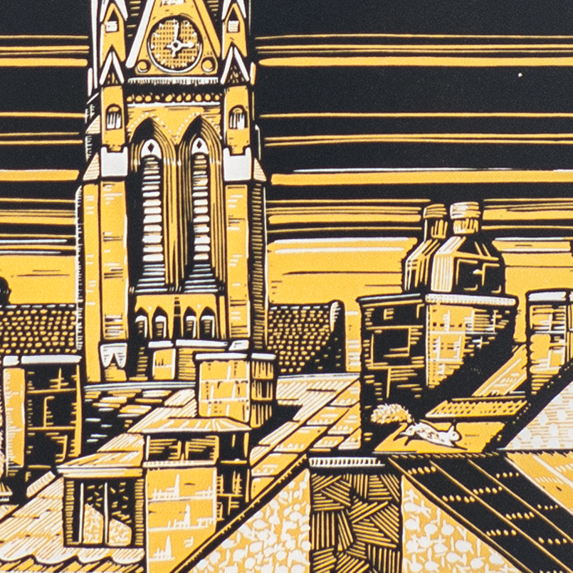 Stockholm Rooftops, Two Reduction Linocuts