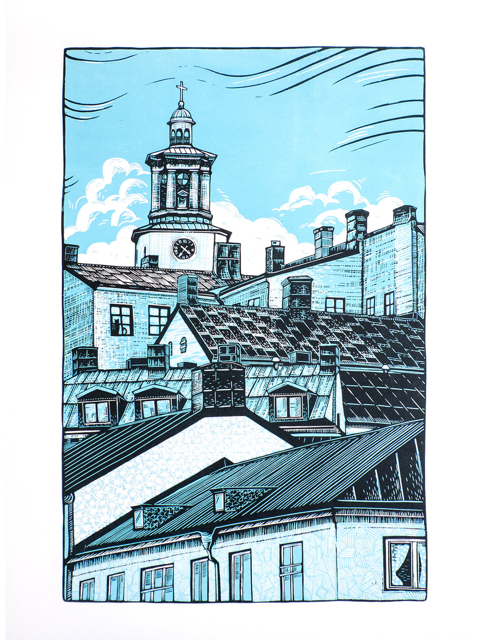 S:ta Maria Magdalena kyrka , reduction linocut on Hosho paper, 40 x 55cm, edition of 10.