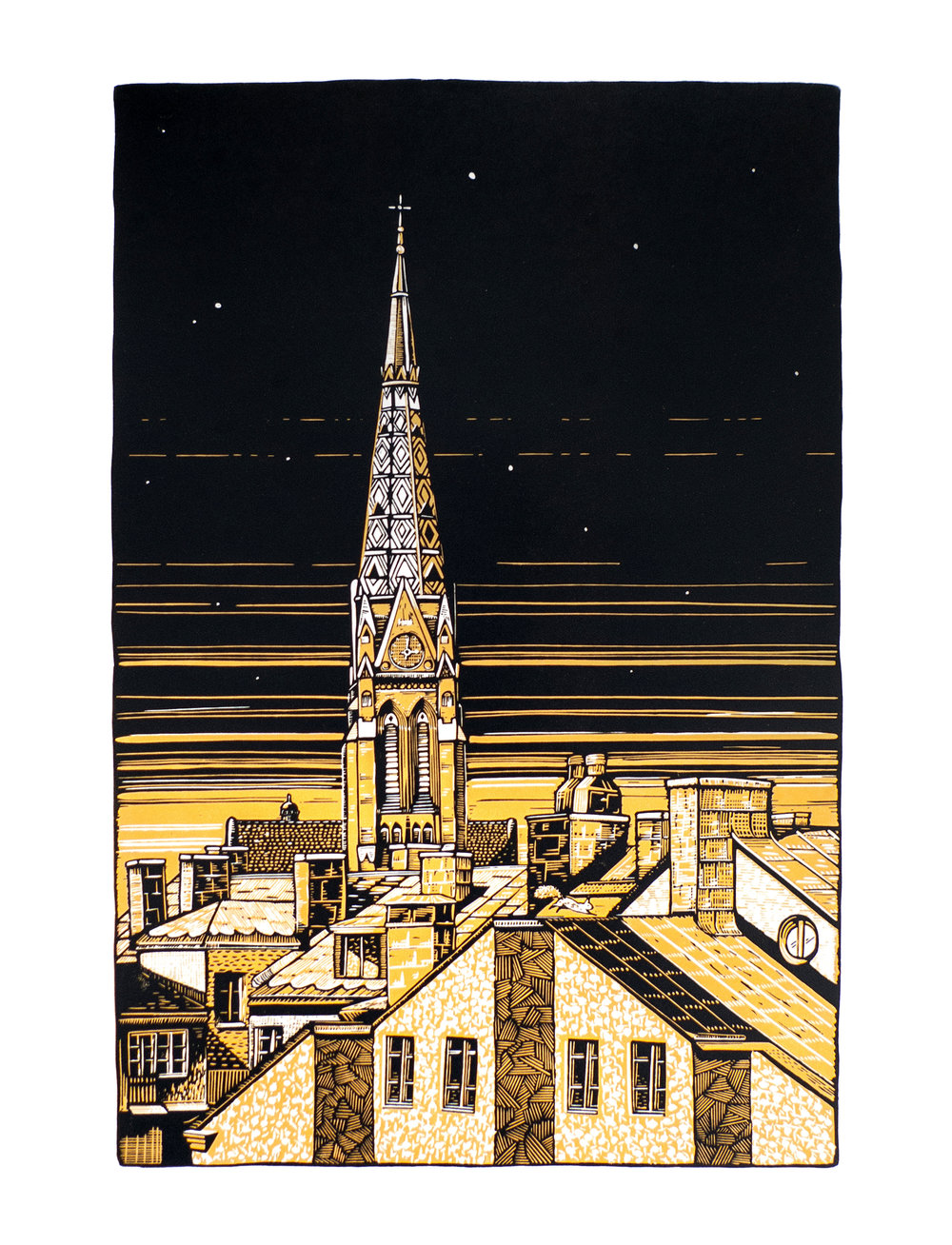 S:t Johannes kyrka , reduction linocut on Hosho paper, 40 x 55 cm. Edition of 10.