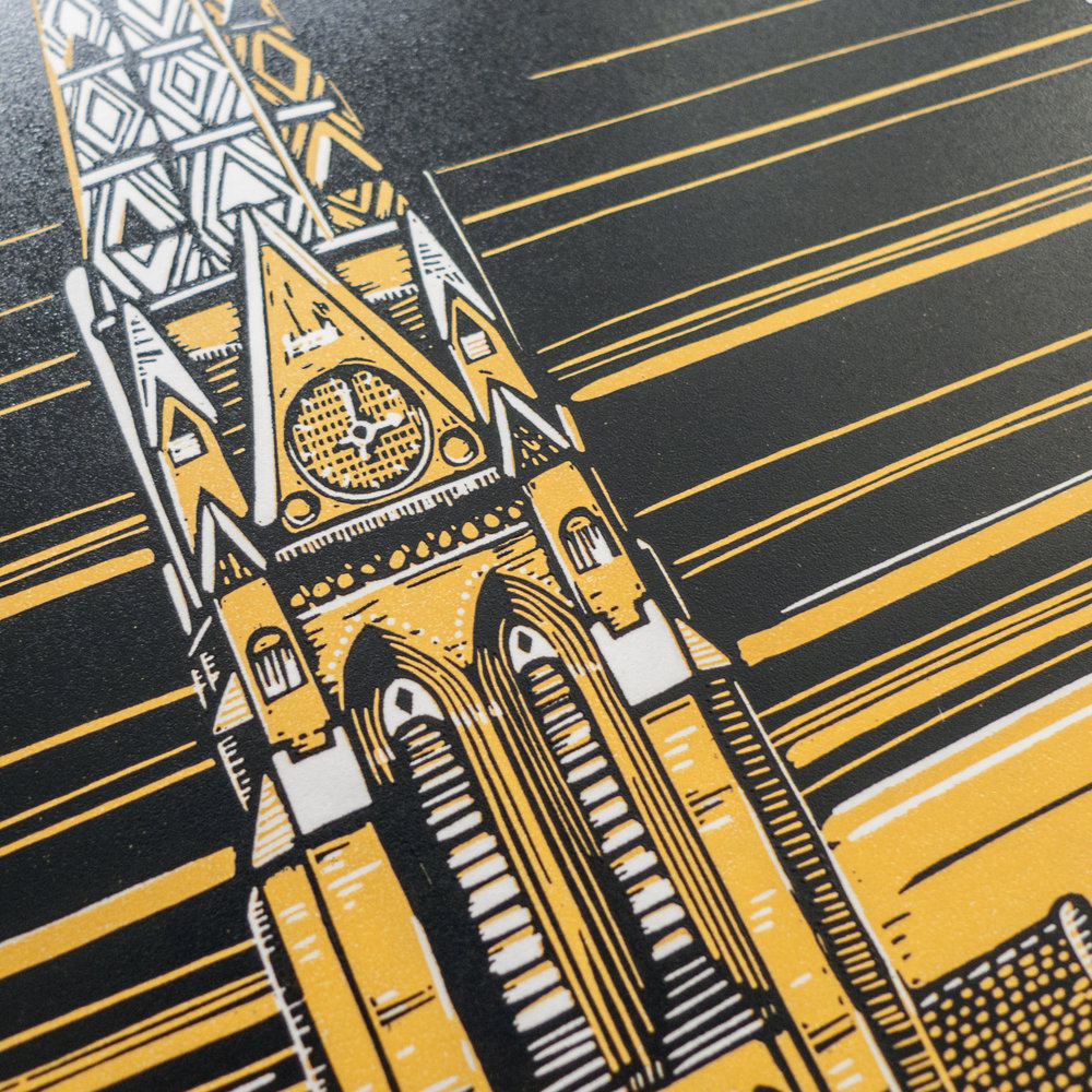 Detail of the linocut.
