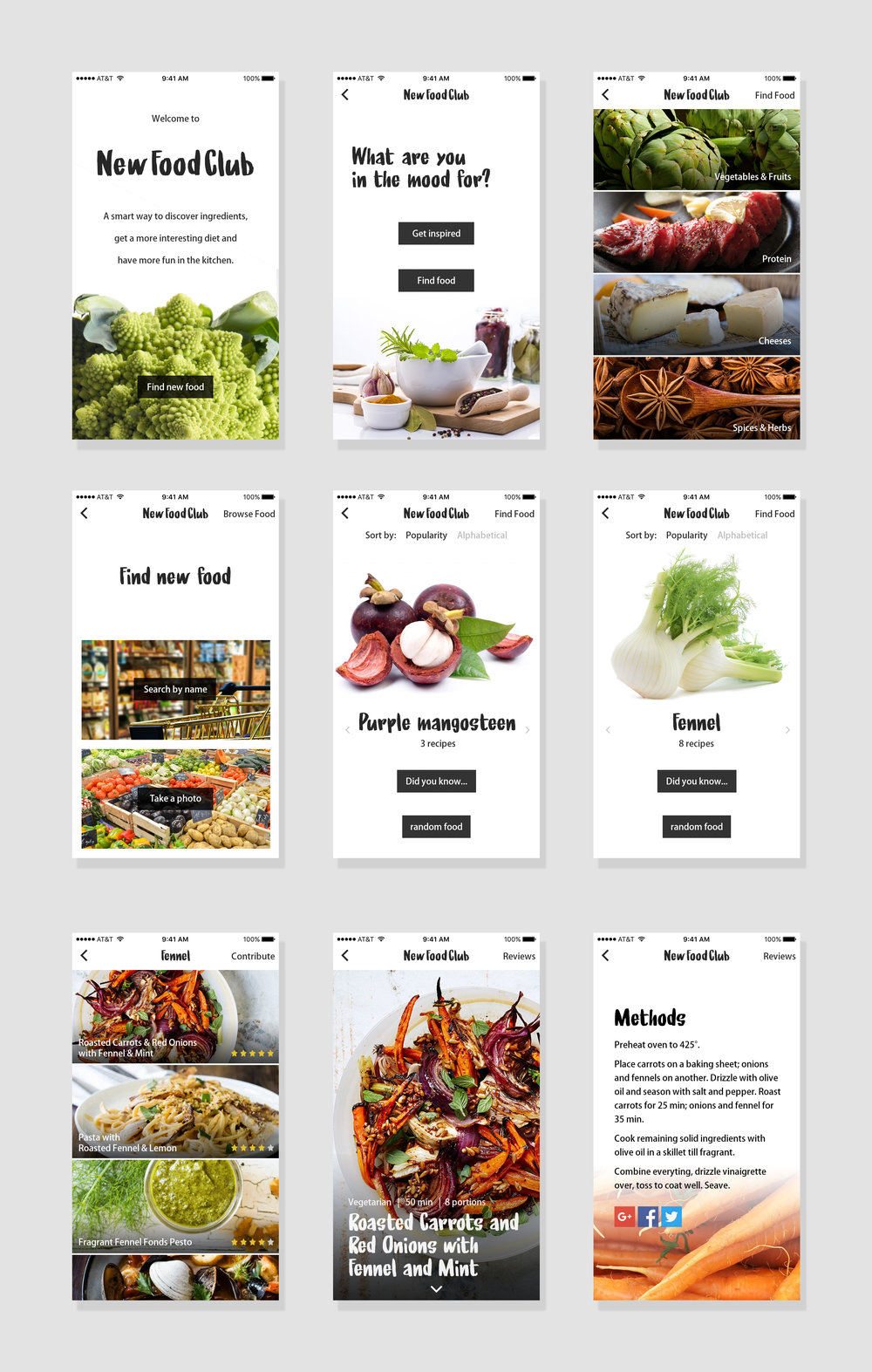 An app that encourages people to discover and cook with new ingredients.    Click to try it.