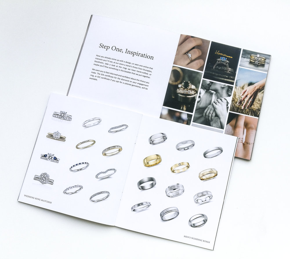 Graphic design for a brochure to showcase a shop's custom made jewelry process.