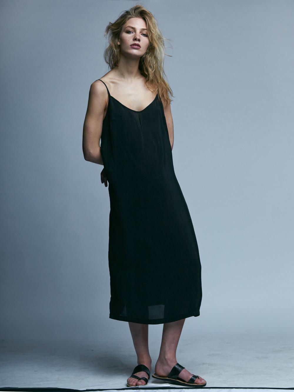 Slip dress: Weekday, Slippers: Stylist's own