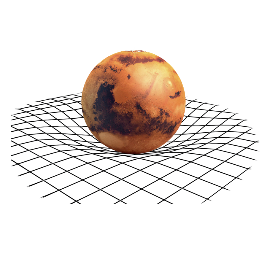 Gravity - Mars has a gravitational pull of 3.7meters / seconds squared. If we ever send astronauts to Mars, they will weight a lot less there.