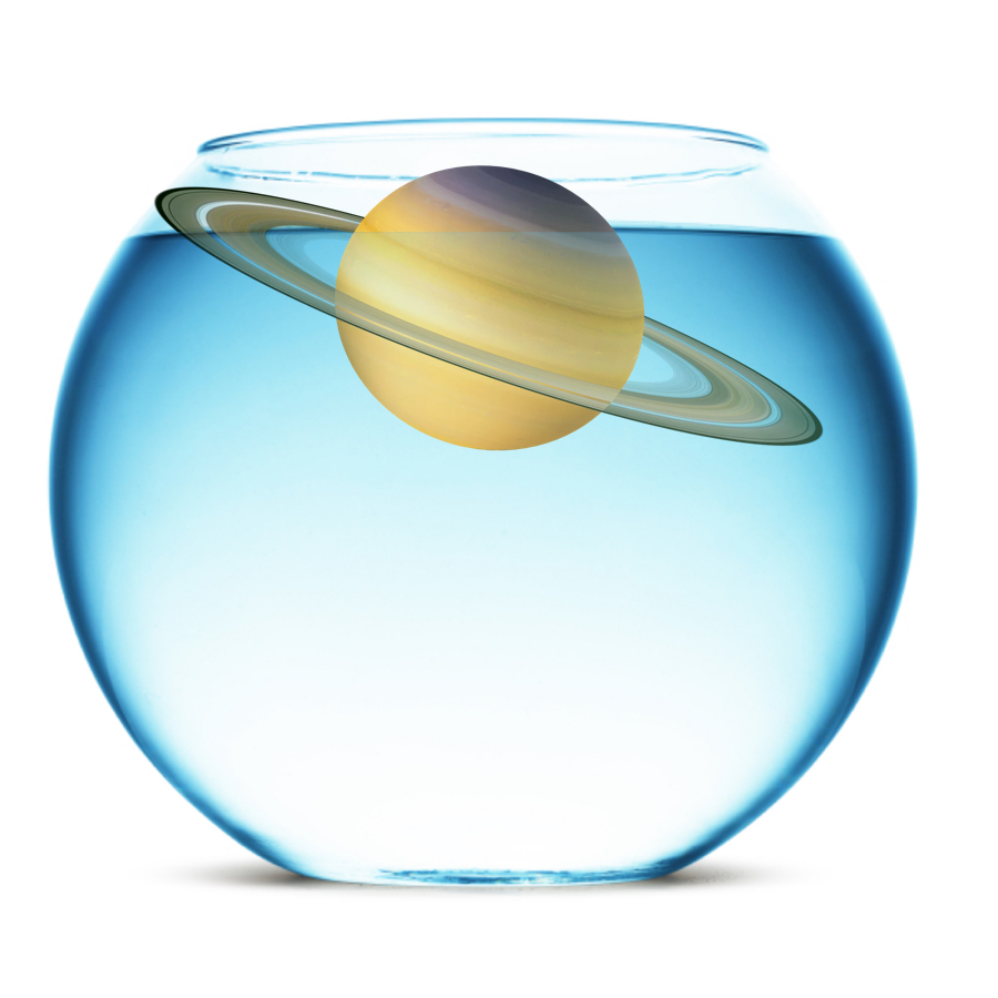 Density - Made of very light elements, Saturn's density is only 0.68 grams per cubic centimeter. This means it would float in water!