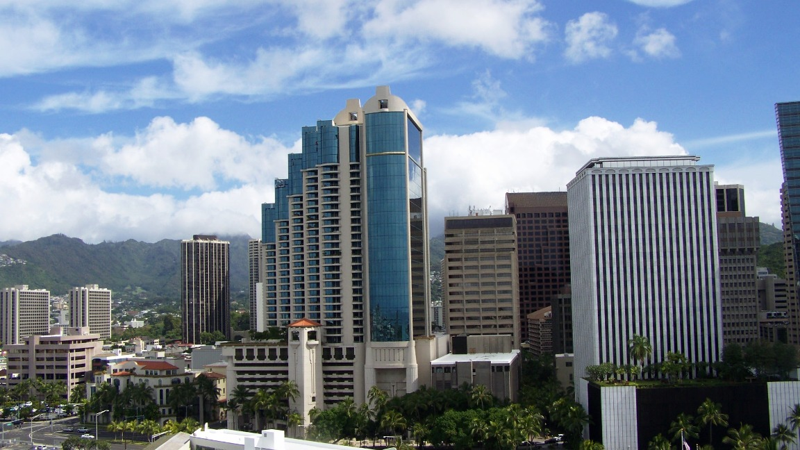 Skyscrapers,old Territorial bldgs and the Ko'olau mts.