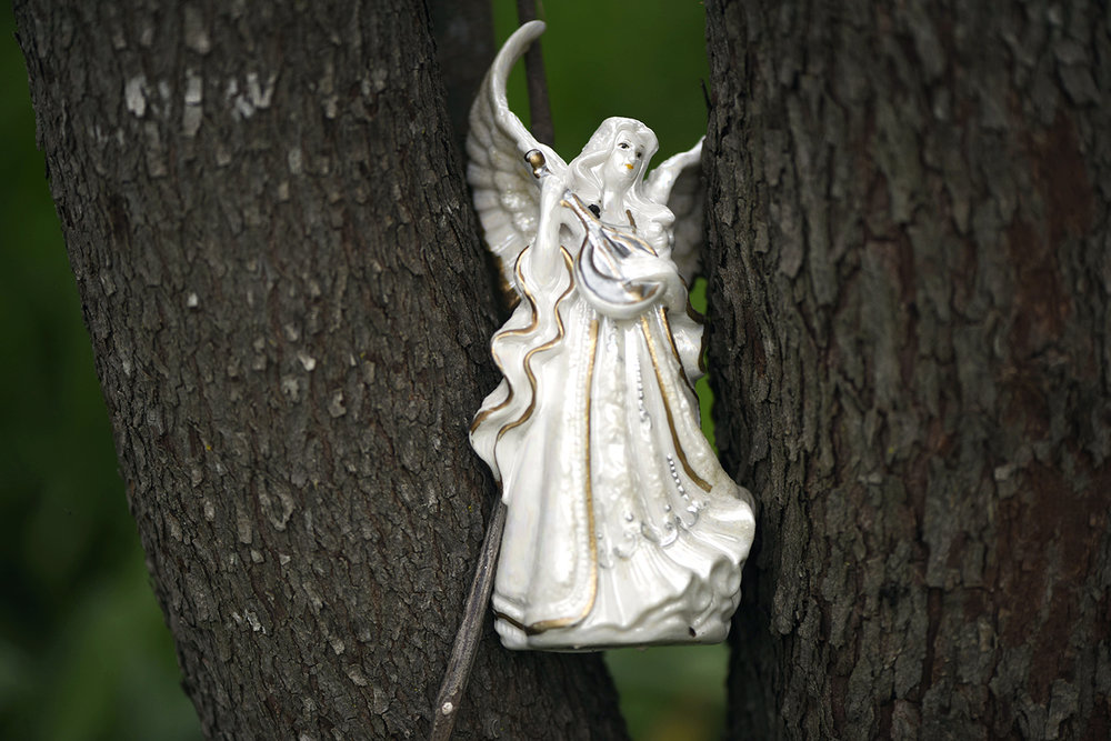 "A statue of an angel sits placed between two trees on Wednesday, April13, 2017 at Oak Spirit Sanctuary. Wicca doesn't believe in heaven or hell, but they do believe in guardian angels that are benign entities belonging and leading every person. ""Oftentimes, visitors will place statues on the land. We don't always know who or why, but we know there was a purpose to the one who left it. This is somebody's guardian and it will be there the next time that person returns,"" Lynn said."