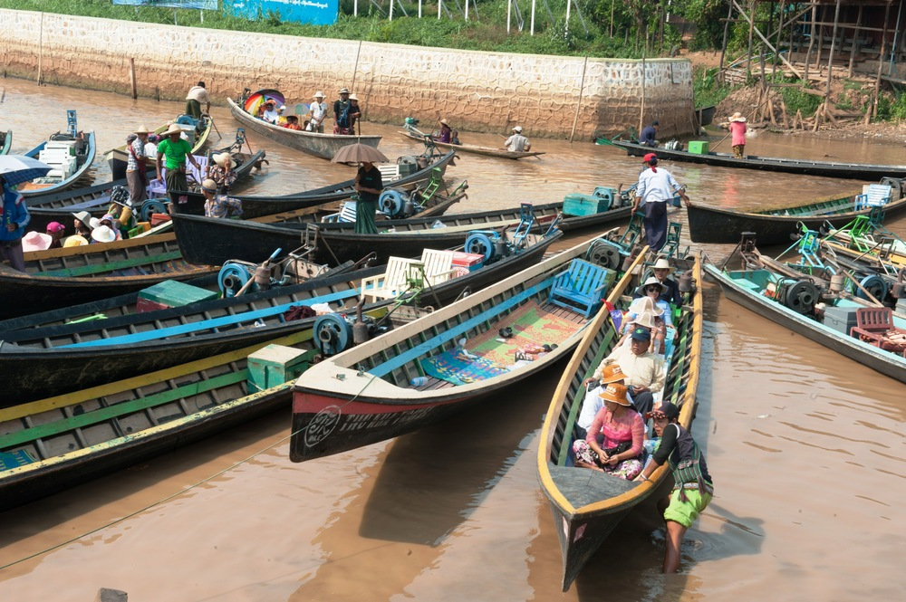 People from all over the country travel to Inle Lake's holy sites during the Water Festival