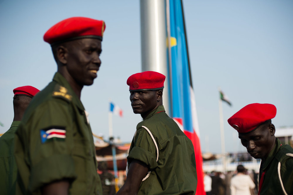 Troops at the Dr John Garang Memorial, Juba, on the day of independence - photo  Phil Moore