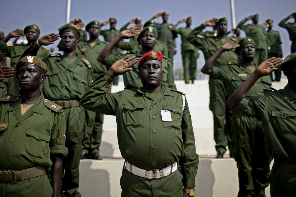 A high-ranking general arrives with his troops in Juba