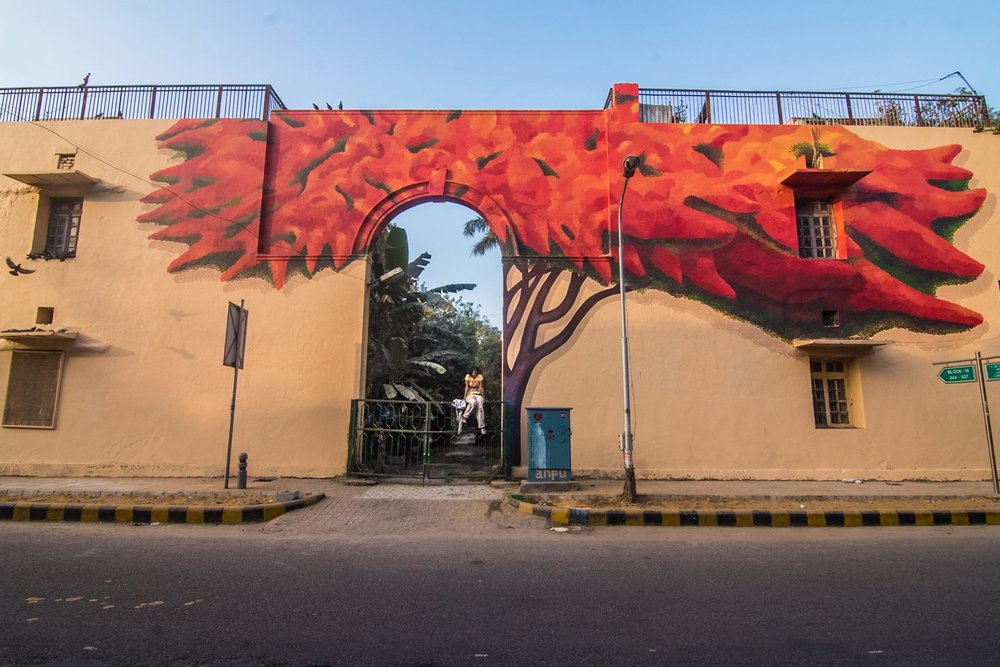 Lava Tree by Anpu Varkey, a mural in Lodhi Colony. Photo by Akshat Nauriyal