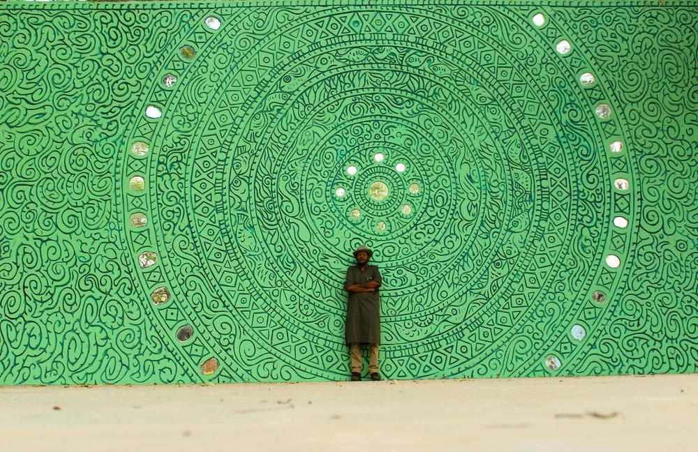 A mural by Suresh K Nair in Banaras, Kerala