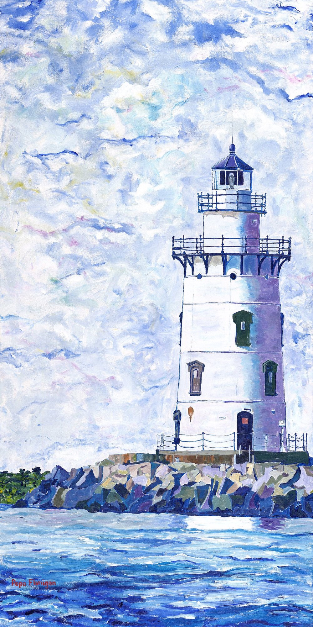 OLD SAYBROOK LIGHT CT    48X24 ACRYLIC ON CANVAS SOLD #221