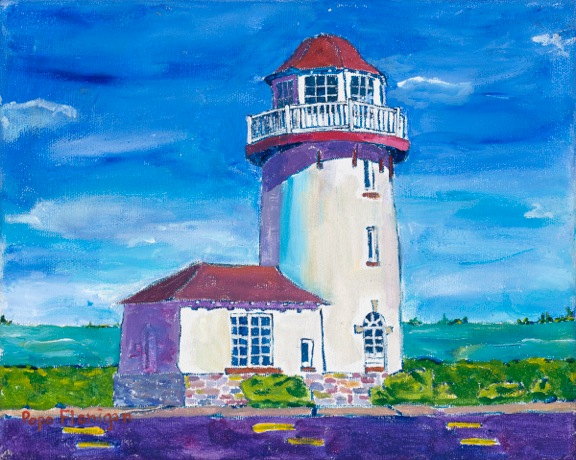 BRIGANTINE REPRESTATIONAL LIGHT NJ    10X8 ACRYLIC ON CANVAS NFS #172