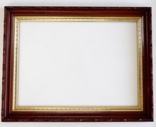 Antique German Carved Walnut Picture Frame Gold Liner 25 x 35 — Vidi ...