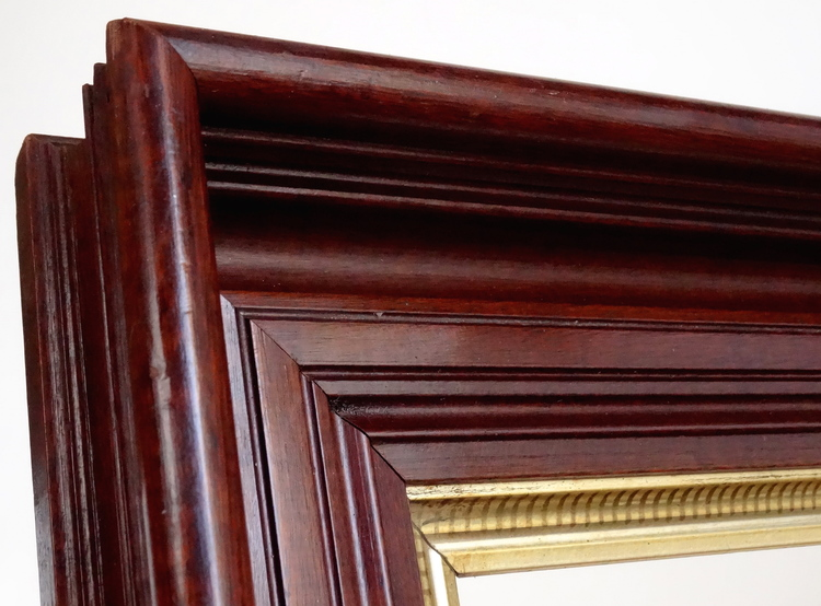 Antique Deep Picture Frame Beautiful Walnut With Gold Liner 18 X 22
