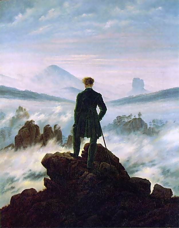 "The painting ""Wanderer above the Sea of Fog""  BY CASPAR DAVID FRIEDRICH"