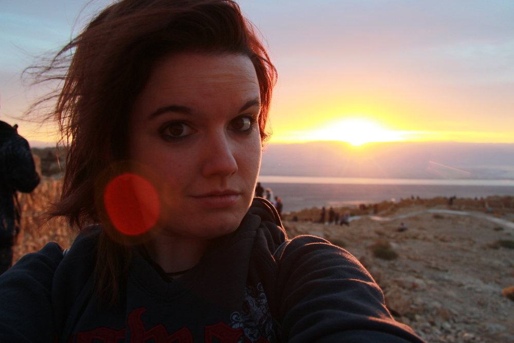 "The only ""selfie"" I took in Israel - at sunrise atop Masada, a UNESCO world heritage site."