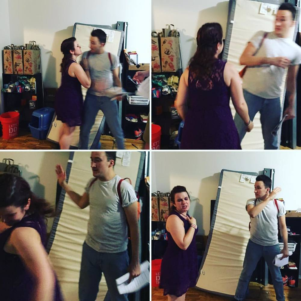 Some candid shots taken by our director as we staged the first slap of the fight.