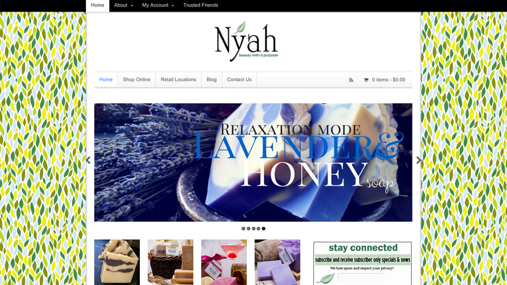 Nyah Beauty: Luxury Artisan Soaps  (Paterson, Passaic County) Handmade, natural soaps for people and pets. Shop online or at retail locations in Newark, Montclair, and Morristown.