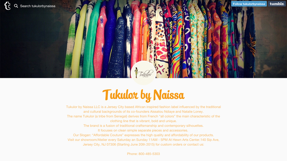 Tukulor  (Jersey City, Hudson County) Handmade African-inspired clothing and accessories.  Shop at   140 Sip Avenue, Hewn Arts Center.