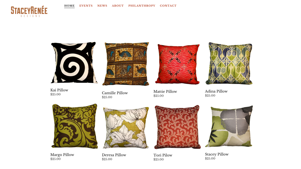 Stacey Renée Designs LLC (Jersey City, Hudson County)   Handcrafted decorative pillows. Shop online or at select markets.