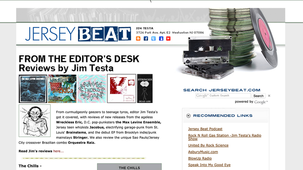 JerseyBeat.com  (Weehawken, Hudson County)  Music fanzine & podcast