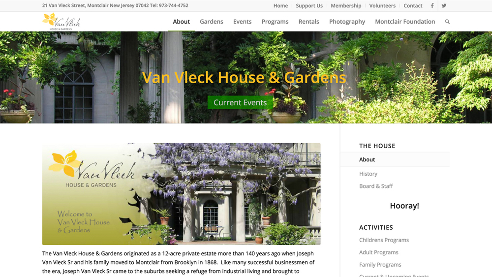Van Vleck House & Garden  (Montclair | Essex County)  Programs: Classes & Events | Rentals | Photography Sessions