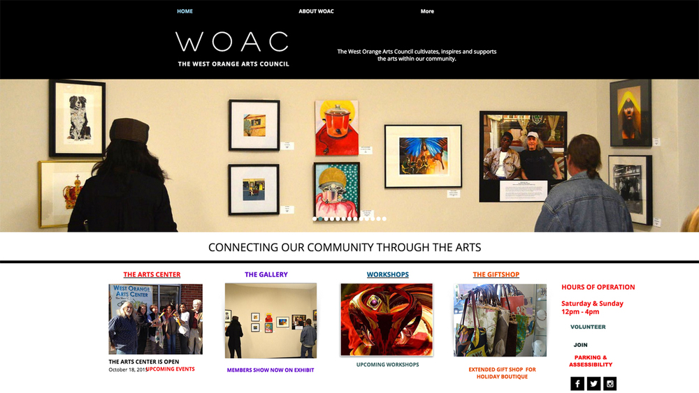 West Orange Arts Council  (West Orange | Essex County)  Programs: Creative Connection | Events | Gift Shop | Gallery | Film Society | Workshops