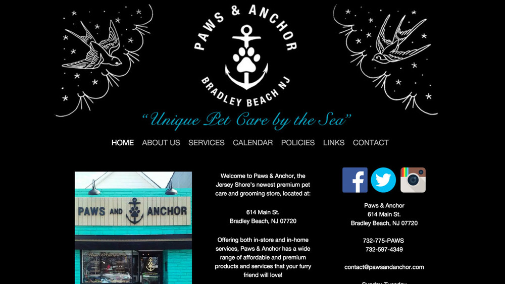 Paws & Anchor  (Bradley Beach, Monmouth County) Pet care, grooming.  Located at 614 Main Street.
