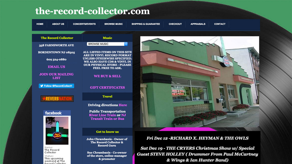 The Record Collector  (record store / concert venue | Bordentown, Burlington County) Records, CDs, vinyl.