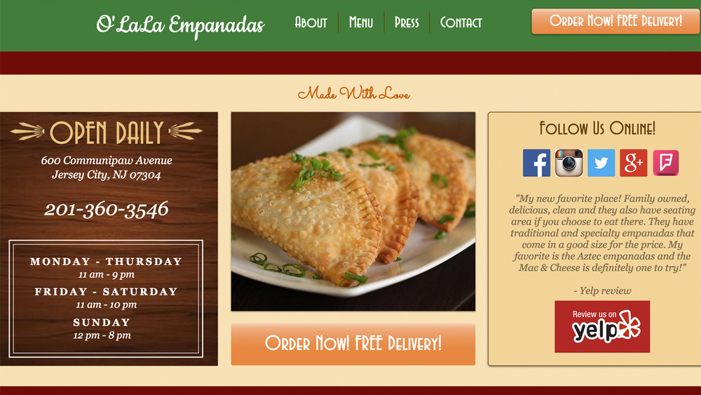 O'LaLa Empanadas  (Jersey City, Hudson County) Latin and international fusion cuisine. Meat / seafood / vegetarian empanadas, Chinese / Peruvian fusion dishes, hot sandwiches, salads, Tres Leche cake, and more. Located at 600 Communipaw Avenue.