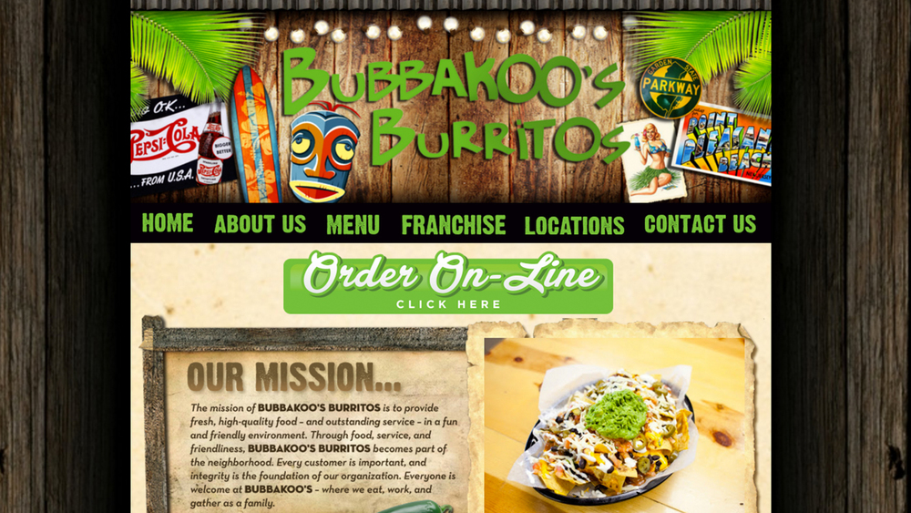 "Bubbakoo's Burritos  (Toms River, Ocean County | Point Pleasant, Ocean County | Jackson, Ocean County | Brick, Ocean County | Manasquan, Monmouth County | New Brunswick, Middlesex County | West Long Branch, Monmouth County | Bayville, Ocean County)  Tex-Mex-style.  Burritos, tacos, quesadillas, nachos, taco salads, the ""chiwawa,"" desserts, and more. Location: various."